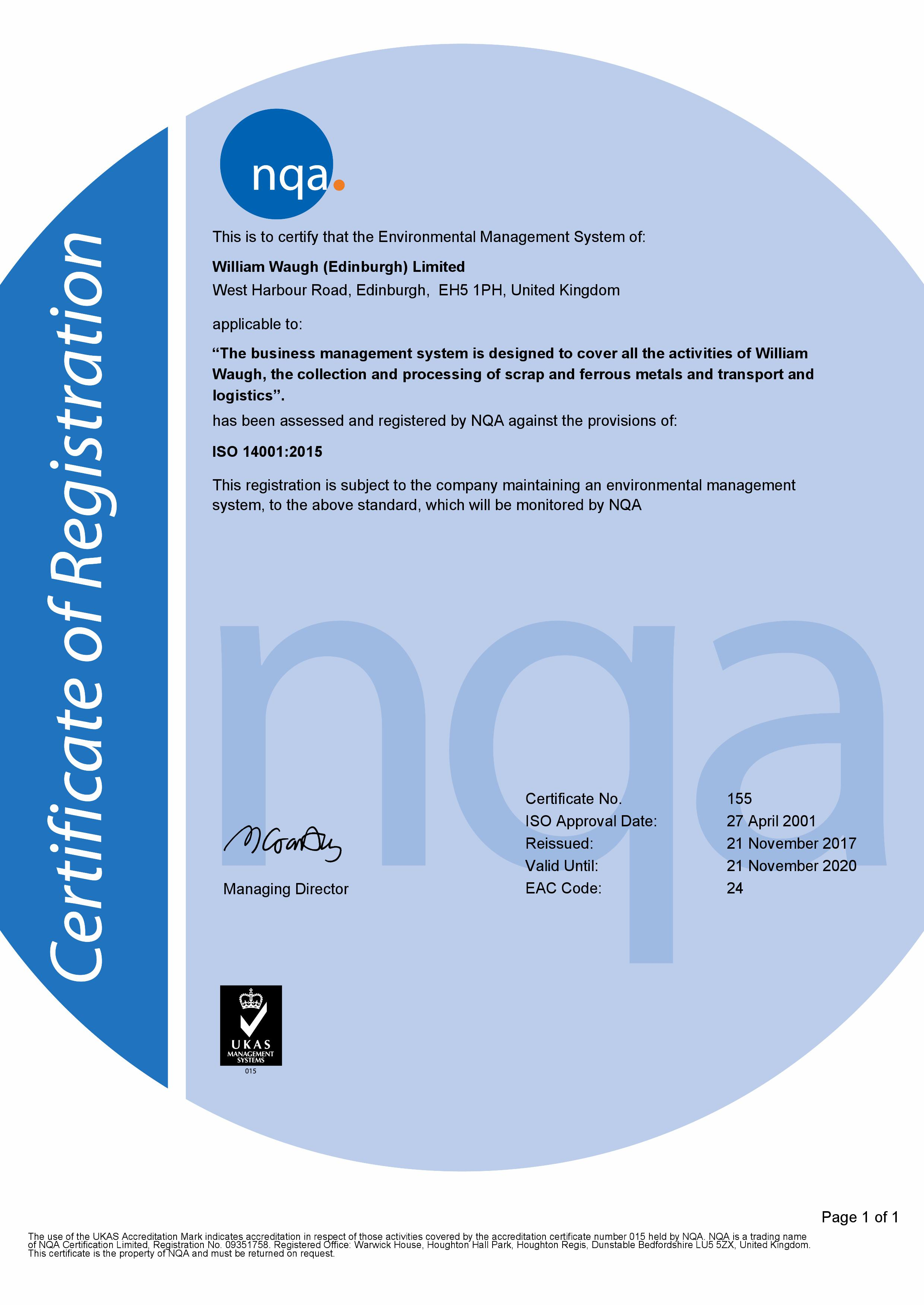 ISO14001: 2015  Accredited to the new Standard